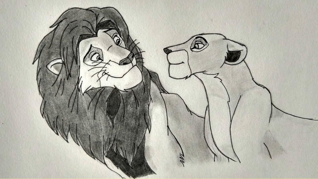 nala and simba drawing