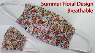 Beautiful Summer Floral Design Face Mask Breathable Mask Sewing Tutorial How to make a Face Mask