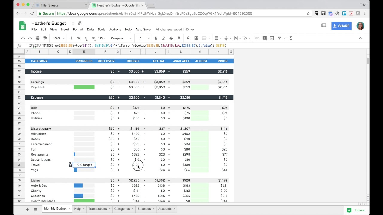 lesson 4 setting up savings goal in your budget spreadsheet youtube