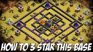"How To Attack ""4 Corners""  Popular Internet TH 9 War Base You See In Most Clan Wars 