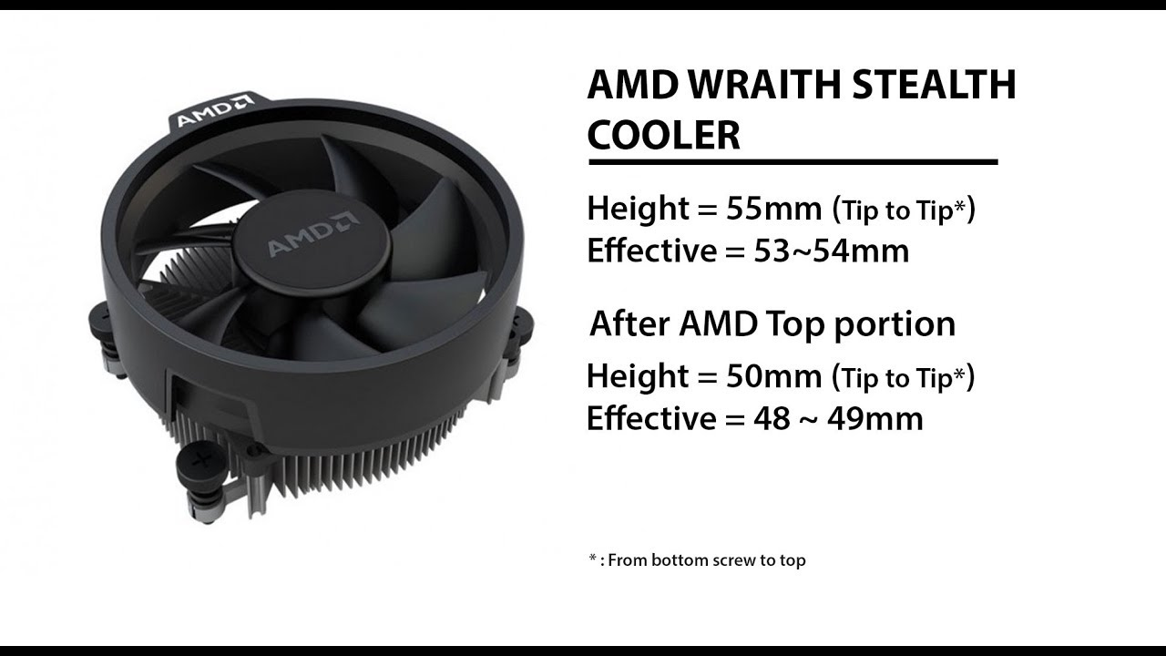 AMD Wraith Stealth cooler height, compatibility and without upper AMD  portion