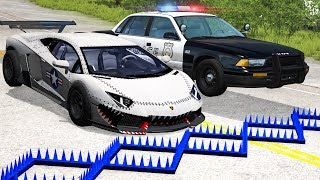 Police Spike Strip Crashes #22 - Beamng drive