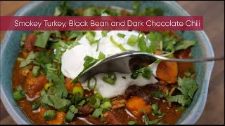 Smoky Turkey, Black Bean, and Dark Chocolate Chili