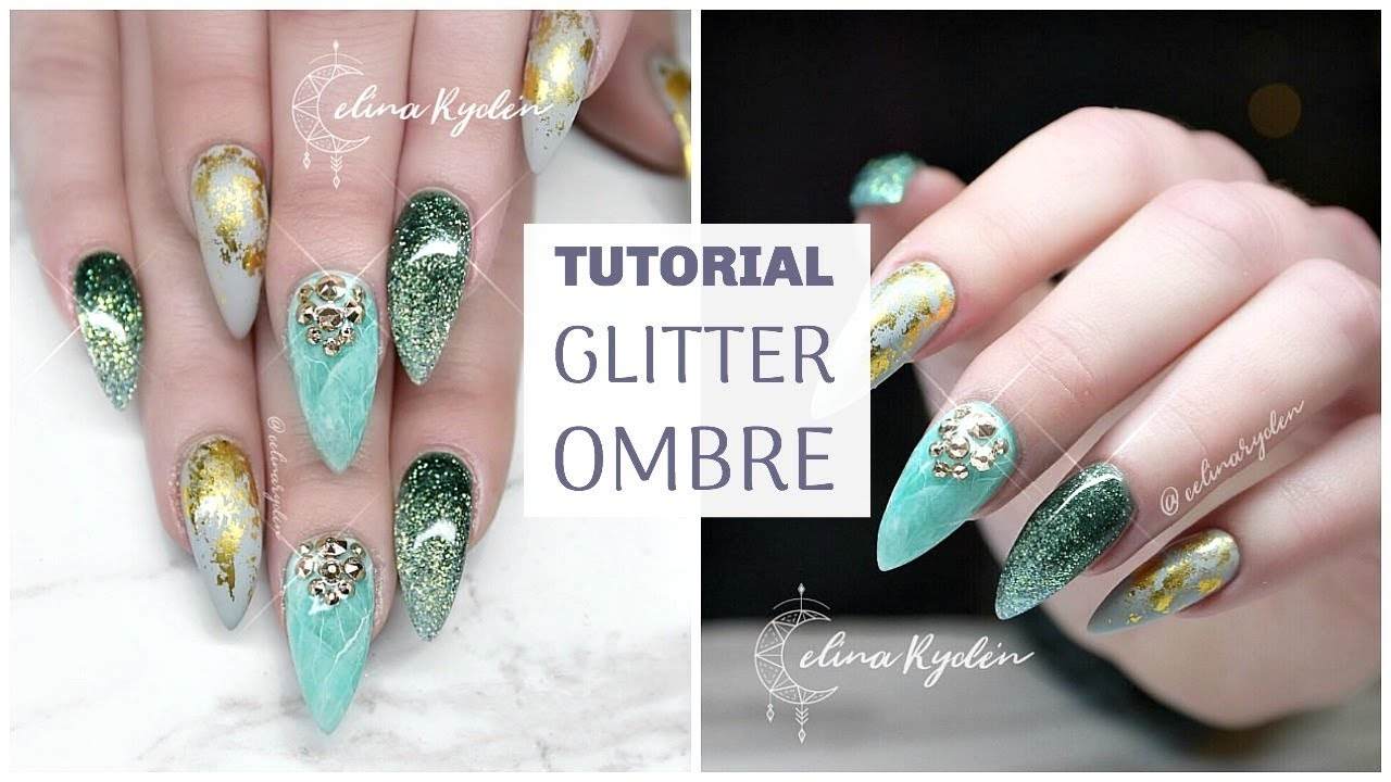 TUTORIAL | GLITTER OMBRE | GEL NAILS - YouTube