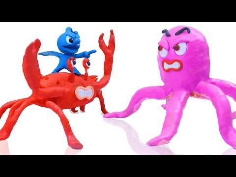 CLAY MIXER CATCH KING CRAB AND HUGE OCTOPUS 💖 Play Doh Cartoons Stop Motion