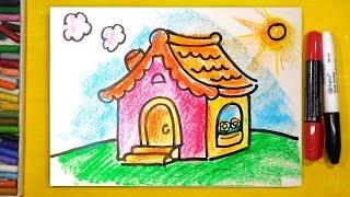 Как нарисовать ДОМ для ДЕВОЧКИ / уроки рисования для детей