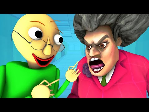 Baldi Vs Scary Teacher (Miss T Android IOS Mobile Horror Game 3D Animation)