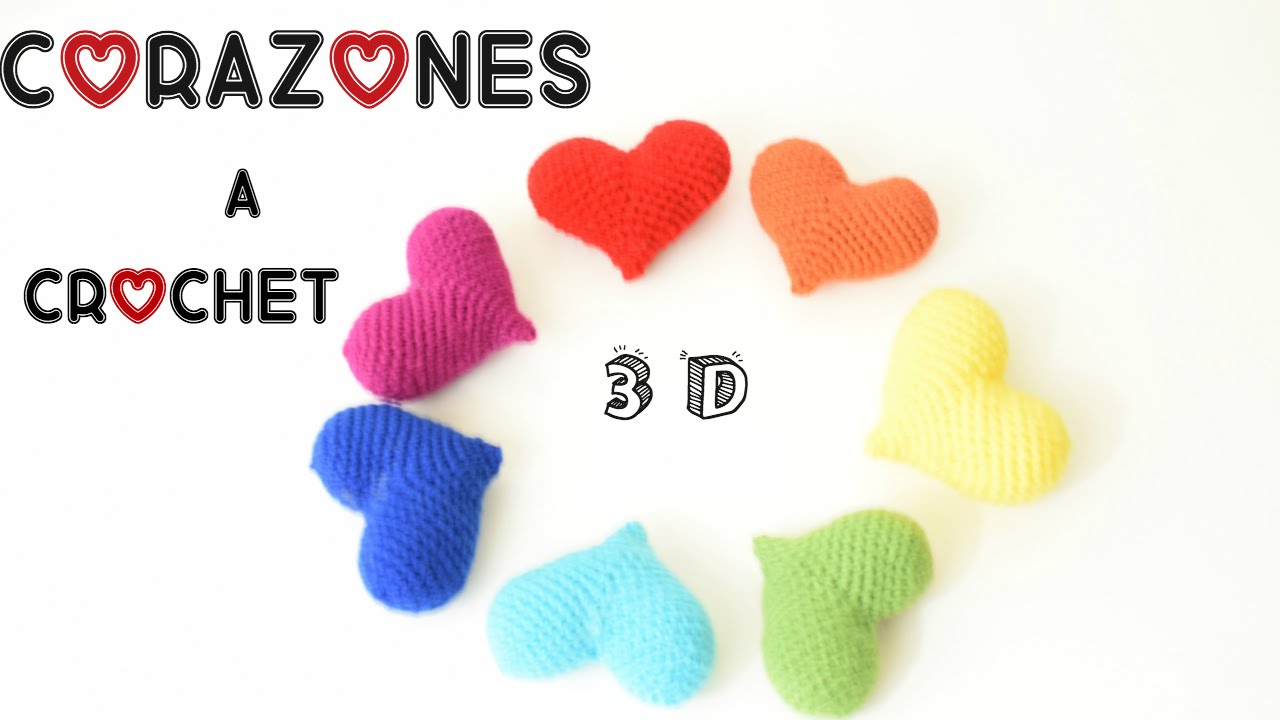 COMO TEJER UN CORAZON 3D O PUFF A CROCHET ( HOW TO CROCHET A 3D ...