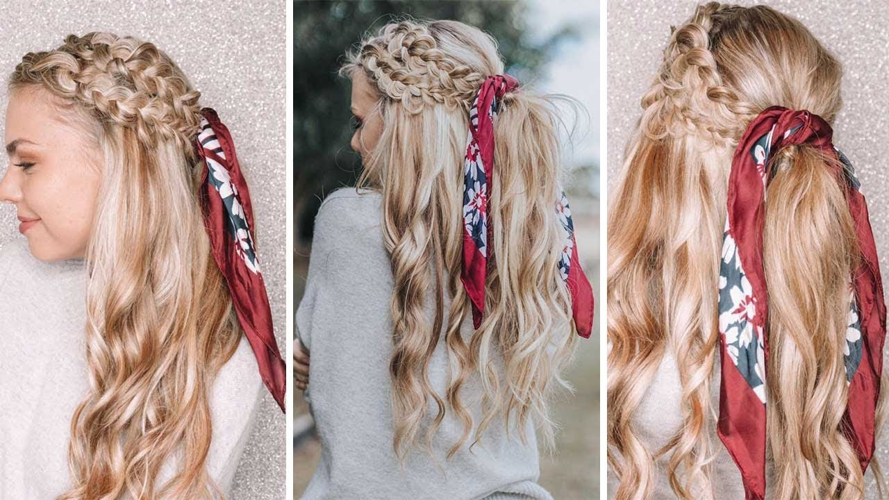 summer braided hairstyle using one piece quad weft extensions - youtube