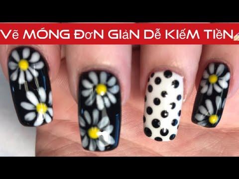 Nghề nail ở mỹ #5 | Vẽ móng hoa cúc trắng | daisy nail art