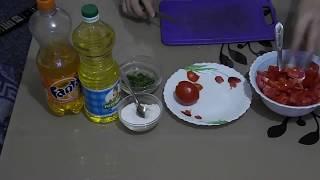 Простой и вкусный салат из помидор и болгарского перца//Простейший витаминный салат