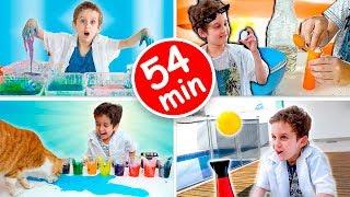 PAULINHO CIENTISTA COMPLETO 3 - Como Fazer Massinha de Maizena - 54 min de Vídeo para Crianças