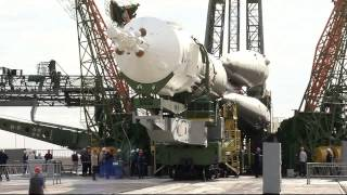 The Expedition 45 Visiting Crew Soyuz Rocket Moved to Launch Pad