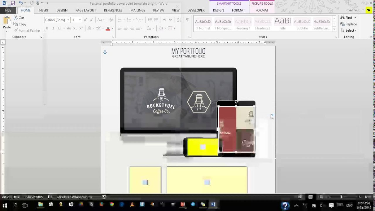Tutorial edit Personal portfolio powerpoint template word YouTube – Portfolio Word Template