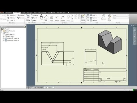Autodesk inventor intro to drawings and dimensioning parts youtube malvernweather Gallery