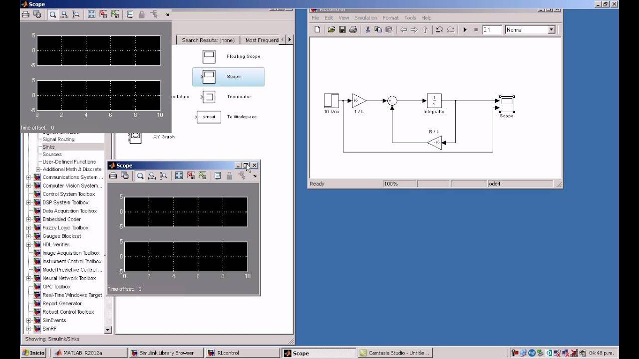 Circuito Rl : Simulación de circuito rl en simulink youtube