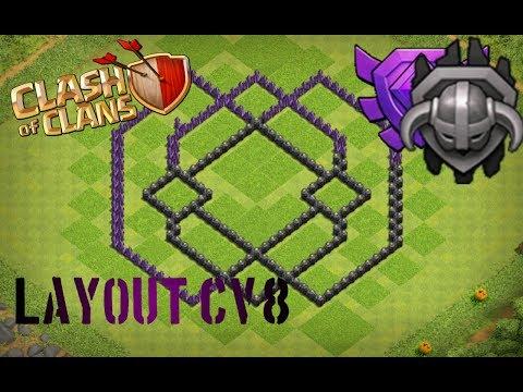 Melhor Layout Cv8 ,de Push E War. (Clash Of Clans).