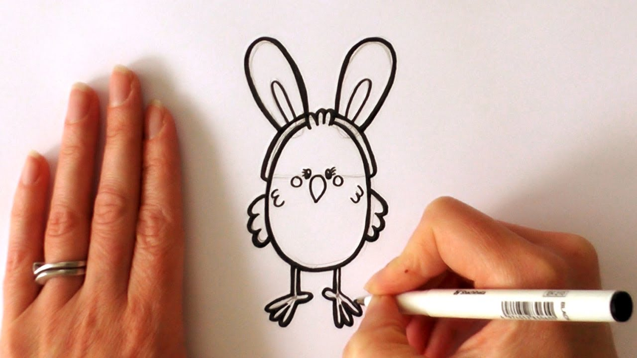 How To Draw A Cartoon Easter Chick Wearing Bunny Ears Youtube
