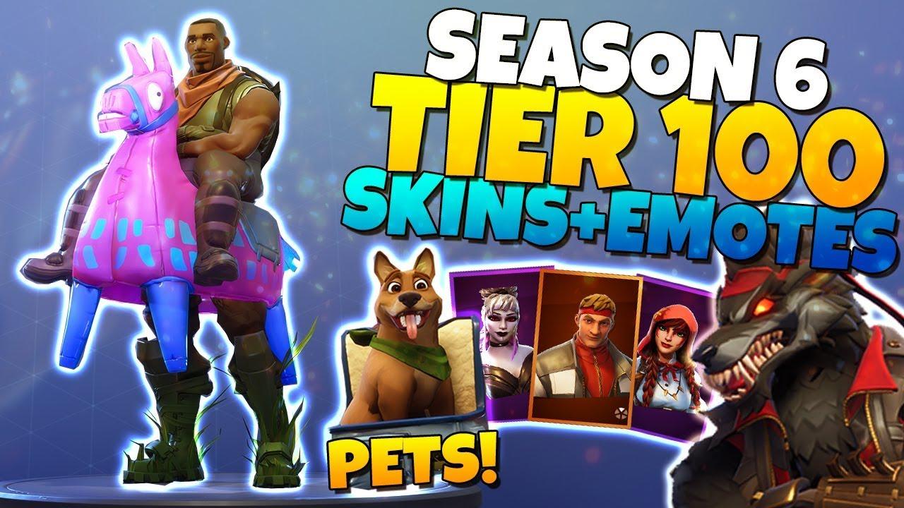 Fortnite Season 6 Tier 100 Battle Pass All Skins Pets Emotes