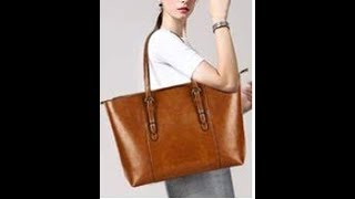 YALUXE Womens Vintage Style Soft Leather Work Tote Large Shoulder Bag