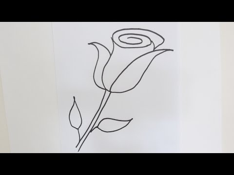 How to draw a rose flower - Easy step-by-step drawing lessons for kids