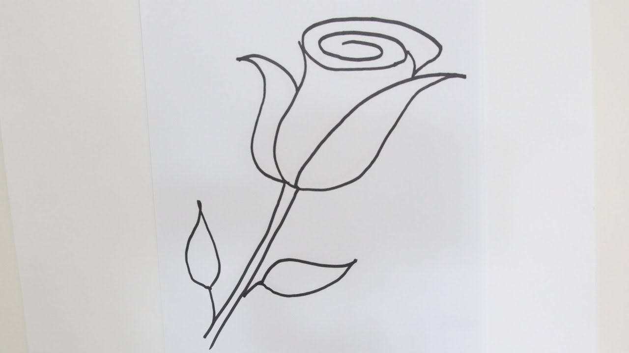 How To Draw A Rose Flower Easy Step By Step Drawing Lessons For Kids Youtube