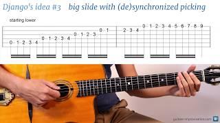 Django Reinhardt lick #3 : Big slide with (de)synchronized picking