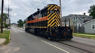 Street Running Trams! South Shore Line Railway Down The Middle Of The Road! Michigan City!