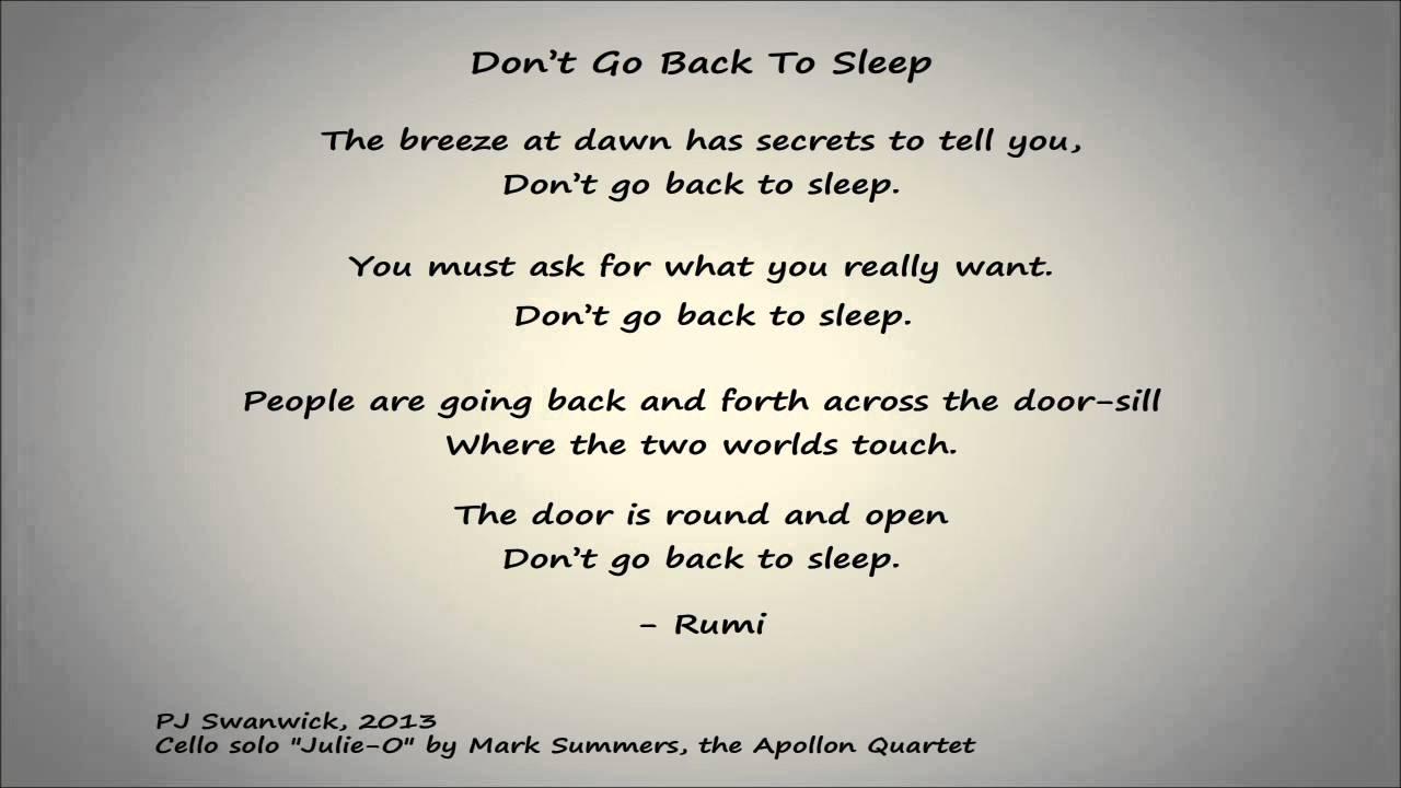 Dont Go Back to Sleep