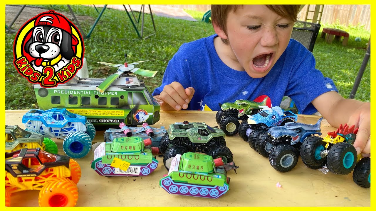 Soldier Fortune ARMY FIREWORKS vs. Monster Jam Dinosaurs (Spiderman AVENGERS & Jurassic World LEGOS)