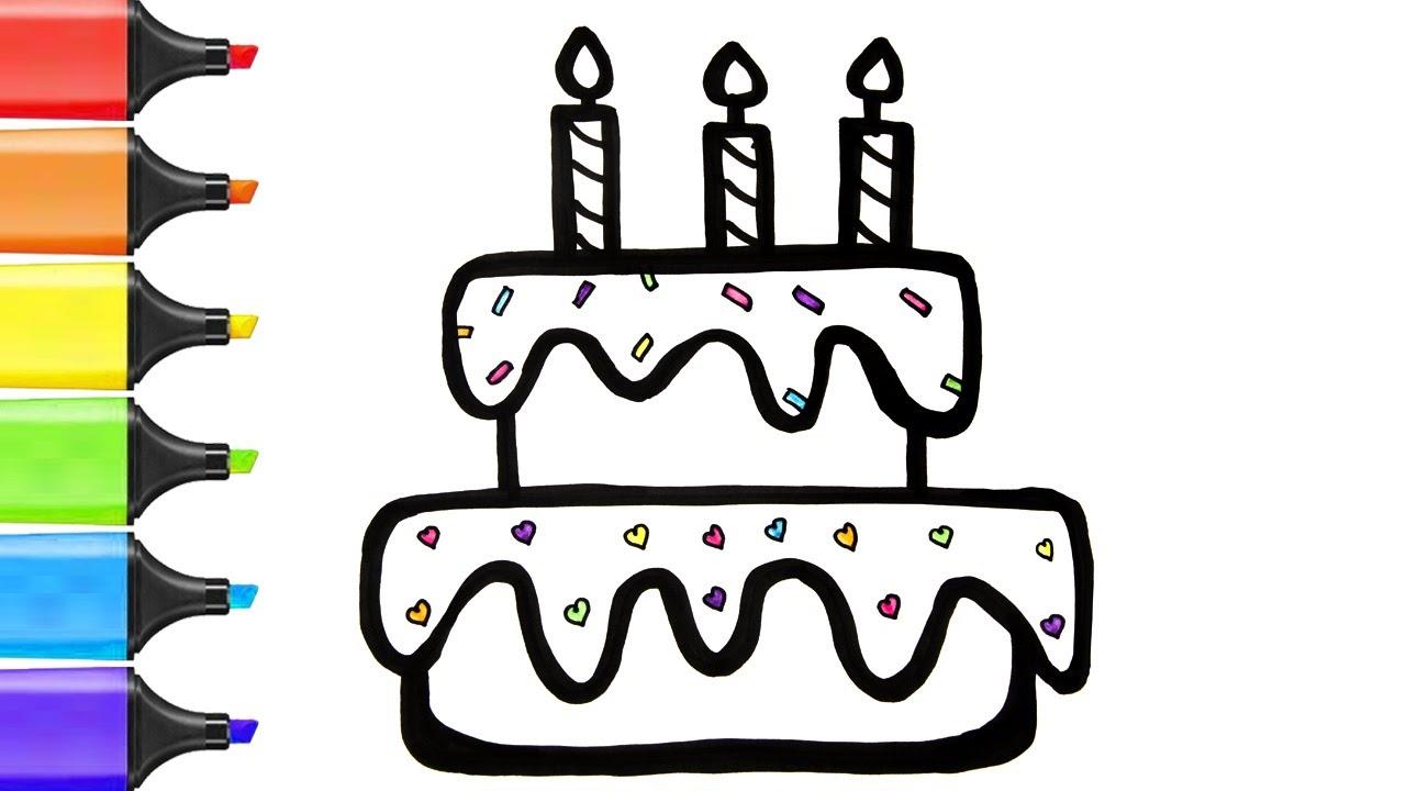 Dessin Et Coloriage Pour Enfants Gateau D Anniversaire Coloring For Kids Birthday Cake Youtube
