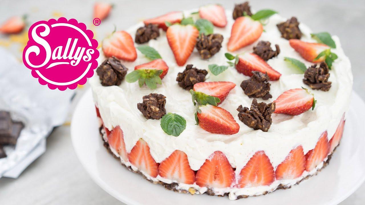Schoko Crossies Erdbeer Torte No Bake Kuhlschranktorte Youtube