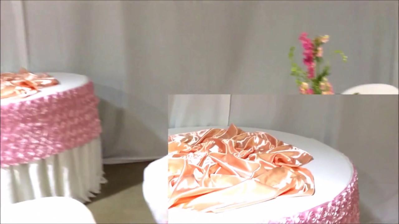 Faos events decoracion color durazno y rosa youtube for Decoracion de pared para quinceanera