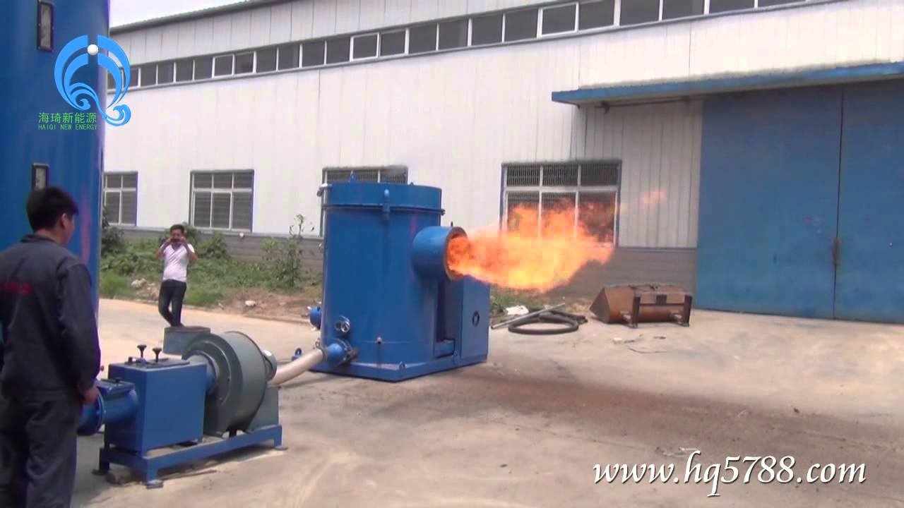 Sawdust rice husk powder biomass burner connect with