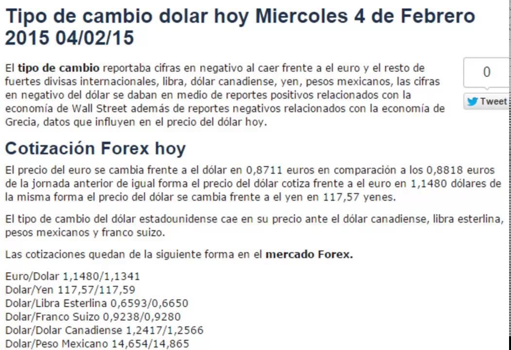 Tipo de cambio euro dolar forexpros