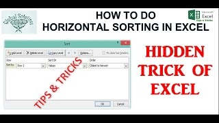 How to do Horizontal sorting in Excel||Hindi||Excel formulas and functions||global solutions