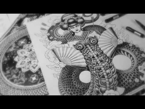 Geisha Dragon - Time Lapse Illustration