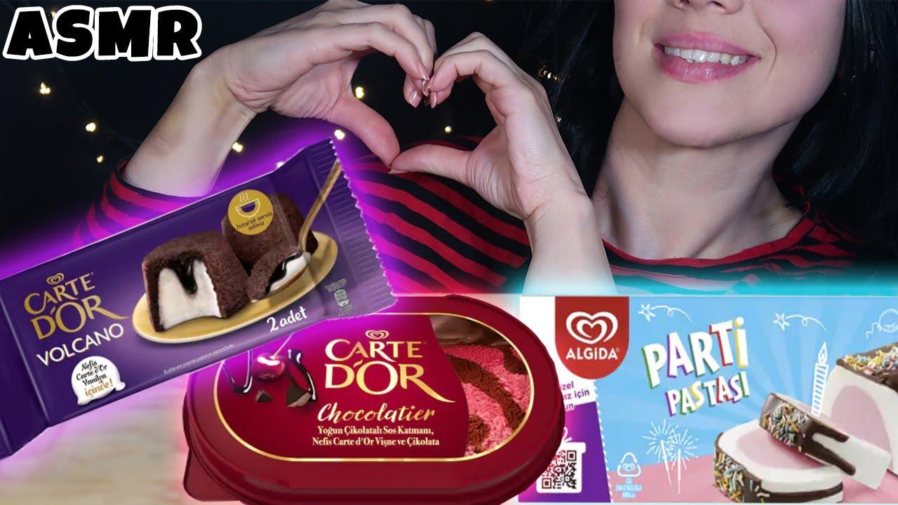YENİ CARTE D'OR DONDURMALARI DENEDİM | Volcano, Chocolatier, Parti Pastası | Asmr Türkçe Mukbang