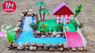 waterfall and river showpiece from hot glue gun, home decoration, Gkcraft