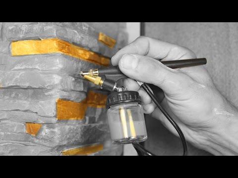 Укладка декоративного камня на откос Оформление угла,окрашивание пульверизатором.