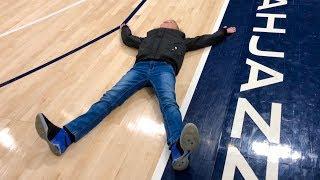 Laying on an NBA Basketball Court!