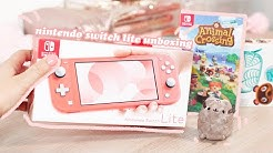 coral nintendo switch lite unboxing 🍒+ intro to animal crossing 🌴