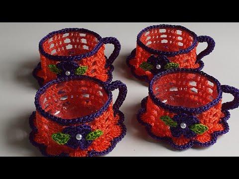 joguinho de chá de crochê decoração 1⁰ parte - Xícaras