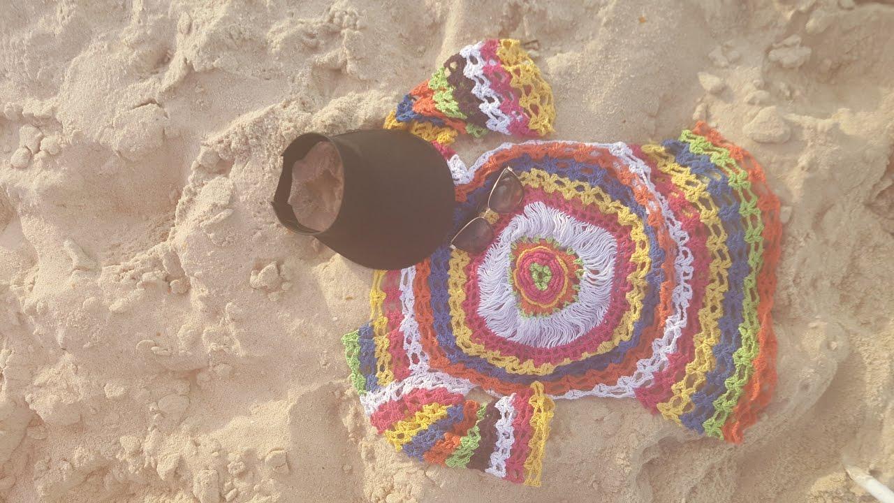 b94e9ed4fe Saída de praia colorida em crochê. (vídeo completo) By Ny Pinheiro ...