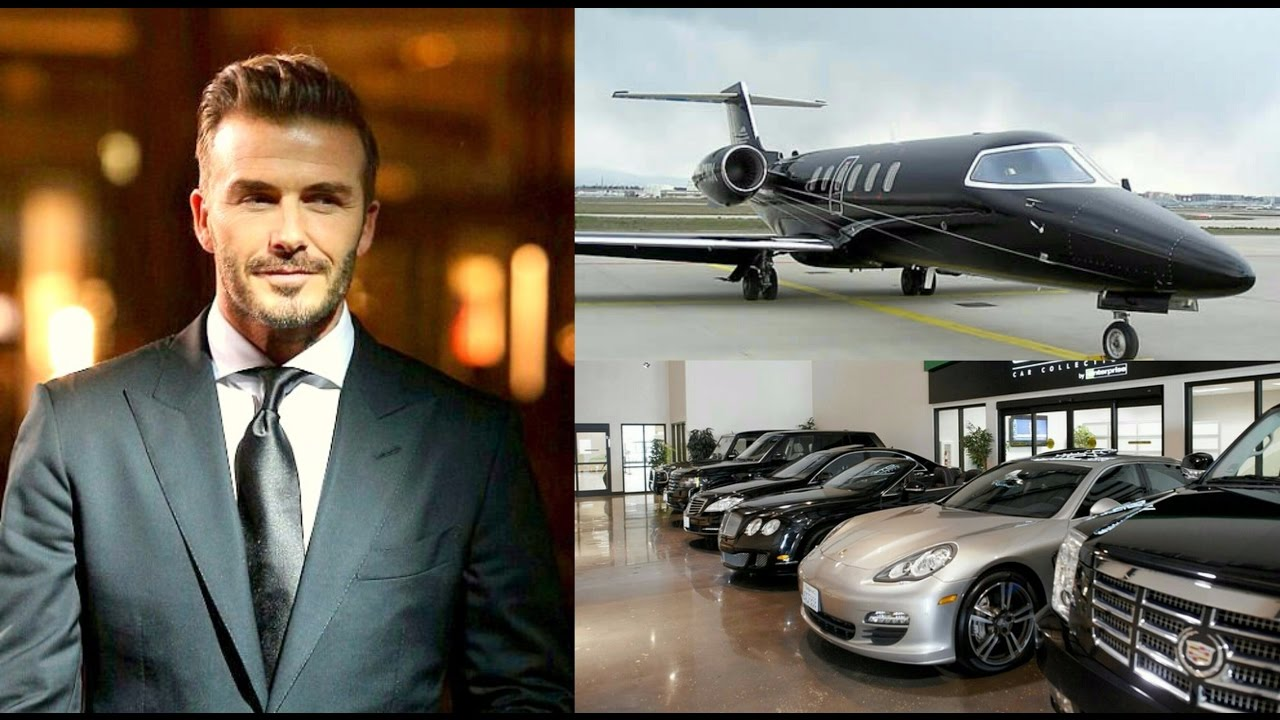 David Beckham's supercars Bugatti Ferrari, Jeep ,Lamborghini & Private Jet  collection