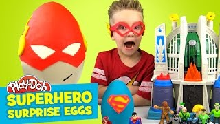 Justice League Surprise Eggs with Play-Doh Flash and Play-Doh Superman Eggs & Suprise Toys