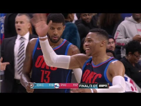 Russell Westbrook Trash Talks Joel Embiid While Waving Him Goodbye After 3 Overtimes WIN!!!