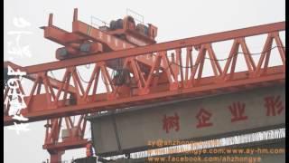 Bridge girder launcher via span and launching side girder