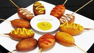 #Корн-дог — сосиска в тесте #Фастфуд – уличная еда в кукурузном тесте [LudaEasyCook]
