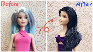 Easy DIY - How to dye hair for dolls | Barbie hacks and crafts | HAPPY DOLLS #barbie #dolls #diy